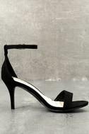 Lover Black Suede Ankle Strap Heels 9