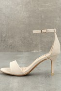 Lover Natural Suede Ankle Strap Heels 8