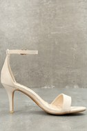 Lover Natural Suede Ankle Strap Heels 9