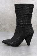 Cache Black Shimmer Rhinestone High Heel Boots 1