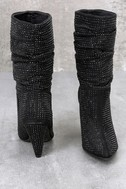 Cache Black Shimmer Rhinestone High Heel Boots 3