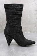 Cache Black Shimmer Rhinestone High Heel Boots 2