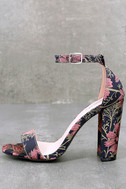 Leonora Mauve and Navy Brocade Ankle Strap Heels 1