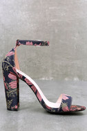 Leonora Mauve and Navy Brocade Ankle Strap Heels 2