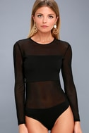 Move Over Black Long Sleeve Mesh Bodysuit 6