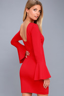 Flare to Spare Red Flounce Sleeve Bodycon Dress 3