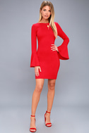 Flare to Spare Red Flounce Sleeve Bodycon Dress 1