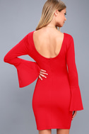 Flare to Spare Red Flounce Sleeve Bodycon Dress 4