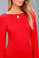 Flare to Spare Red Flounce Sleeve Bodycon Dress 5