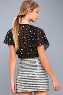 Saturday Night Diva Black and Silver Mini Skirt 5