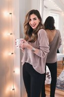 Just For You Light Brown Backless Sweater 7