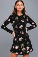 Kiefer Black Floral Print Long Sleeve Dress 1