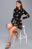 Kiefer Black Floral Print Long Sleeve Dress 2