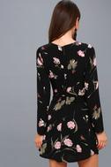 Kiefer Black Floral Print Long Sleeve Dress 3