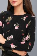 Kiefer Black Floral Print Long Sleeve Dress 4