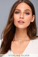 Beatrix Sterling Silver Rhinestone Choker Necklace 4