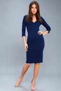 Style and Slay Navy Blue Bodycon Midi Dress 2
