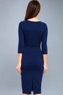 Style and Slay Navy Blue Bodycon Midi Dress 3