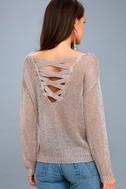 Halcyon Rose Gold Metallic Knit Backless Sweater 4