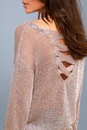 Halcyon Rose Gold Metallic Knit Backless Sweater 5