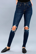 721 High Rise Skinny Dark Wash Distressed Jeans 2