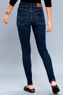 721 High Rise Skinny Dark Wash Distressed Jeans 3