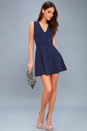 As Swoon As Possible Navy Blue Sleeveless Skater Dress 1