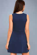 As Swoon As Possible Navy Blue Sleeveless Skater Dress 3