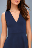 As Swoon As Possible Navy Blue Sleeveless Skater Dress 4