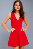 As Swoon As Possible Red Sleeveless Skater Dress 3
