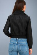 Ziggy Black Vegan Leather Bomber Jacket 3