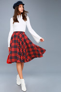 Bristol Navy Blue and Red Plaid Flannel Midi Skirt 2