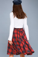 Bristol Navy Blue and Red Plaid Flannel Midi Skirt 3