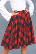 Bristol Navy Blue and Red Plaid Flannel Midi Skirt 4