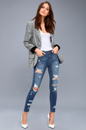 Real Deal Medium Wash Distressed High-Waisted Skinny Jeans 1