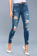 Real Deal Medium Wash Distressed High-Waisted Skinny Jeans 3