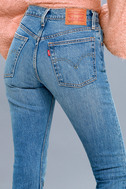 501 Skinny Washed Blue Distressed Jeans 4