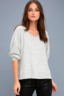 Can't Help Myself Heather Grey Sweater Top 1