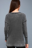 Sawyer Washed Black Long Sleeve Thermal Top 4