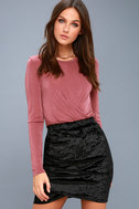 Surely Alluring Black Crushed Velvet Mini Skirt 3