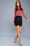 Surely Alluring Black Crushed Velvet Mini Skirt 1