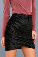 Surely Alluring Black Crushed Velvet Mini Skirt 4