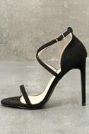 Trixy Black Suede Ankle Strap Heels 1