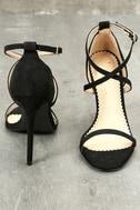 Trixy Black Suede Ankle Strap Heels 4