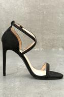 Trixy Black Suede Ankle Strap Heels 2