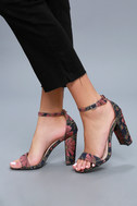 Leonora Mauve and Navy Brocade Ankle Strap Heels 5