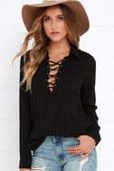 Stylistic Reins Black Long Sleeve Lace-Up Top 6