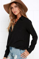 Stylistic Reins Black Long Sleeve Lace-Up Top 7