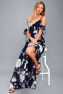 A-Bouquet Navy Blue Floral Print Off-the-Shoulder Maxi Dress 2