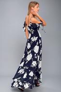 A-Bouquet Navy Blue Floral Print Off-the-Shoulder Maxi Dress 4